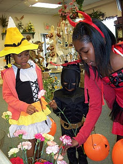 Trick or treat and flowers