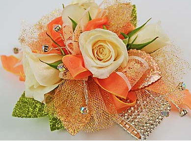 Creamy Peachy Chunky Prom Flower Corsage