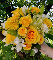 Bailey yellow rose lily bridal