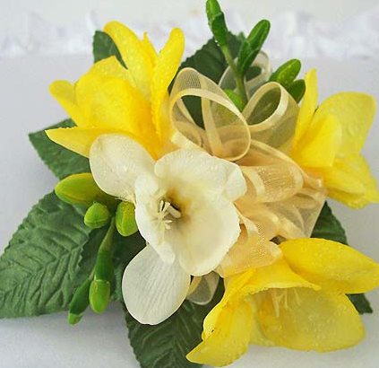 yellow white freesia wrist corsage