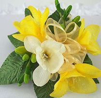yellow white freesia wrist corsage