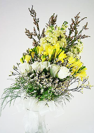 yellow freesia bridal bouquet mix
