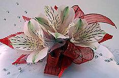 three alstroemeria lily corsage
