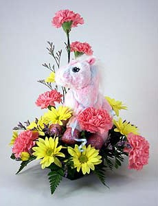 Pink Pony with flowers