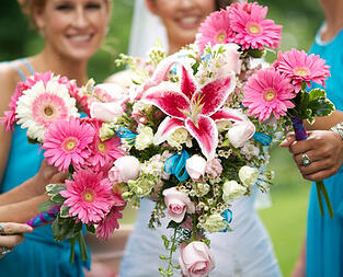 pink and blue bridal flowers