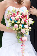 stargazer rose blue cascade bridal