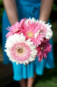 pink gerbera bridesmaid bouquet