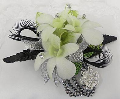 Platinum orchid corsage