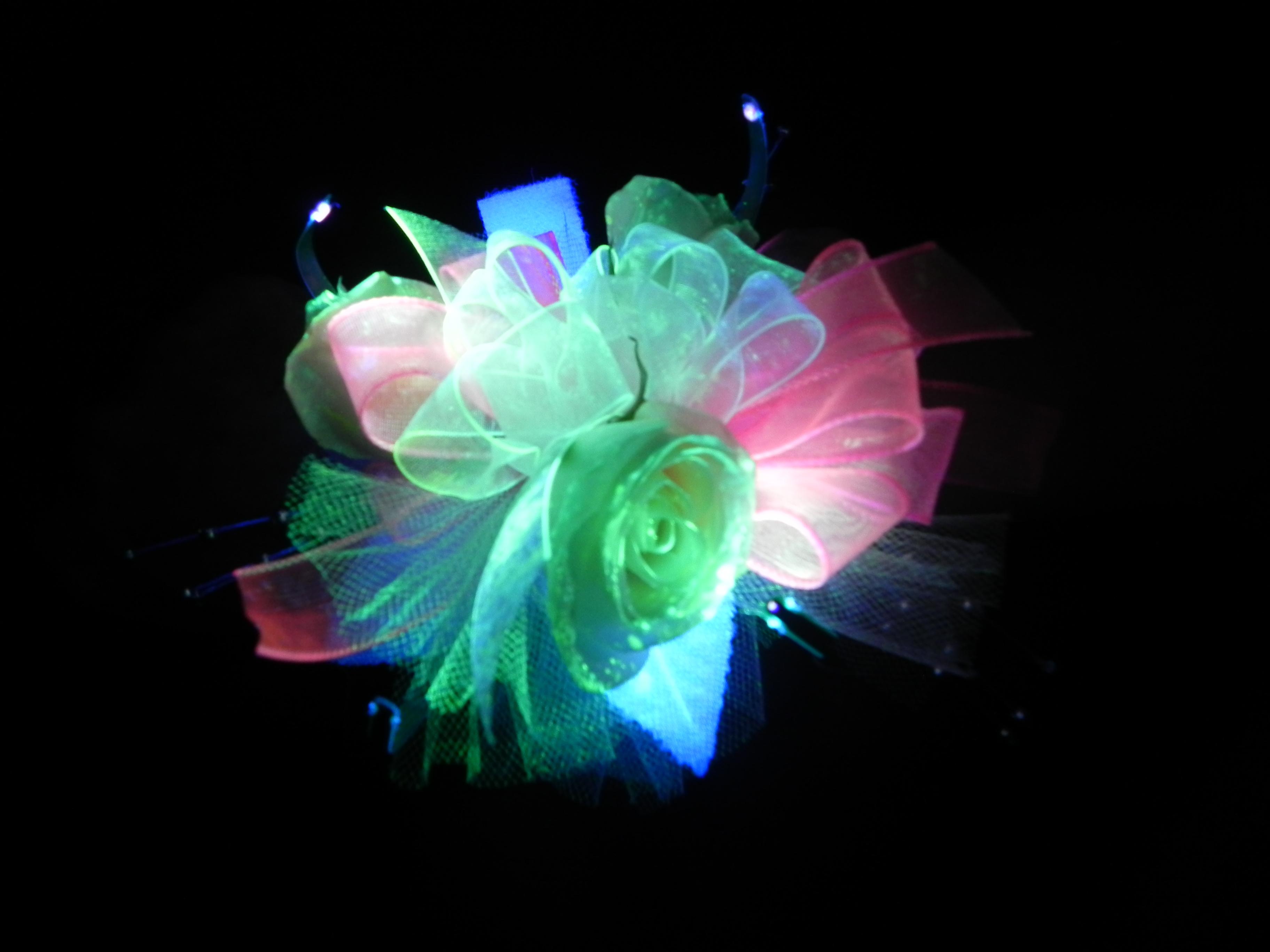Glowing fluorescence prom flowers