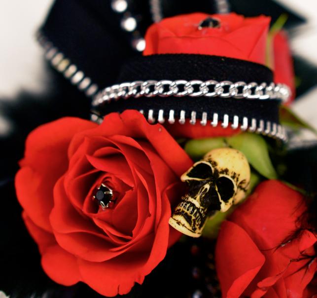 Blood Red Skull Prom Flower