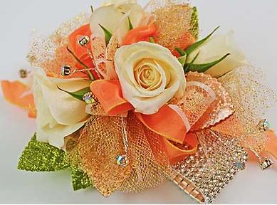 Creamy Peachy Chunky Prom Flower Corsage