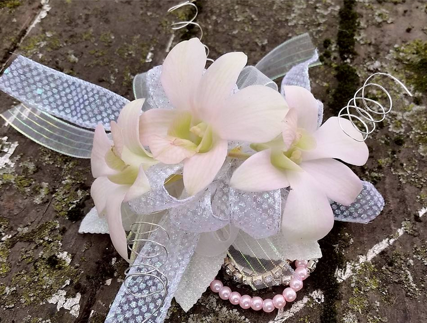 pink dendro orchid corsage prom
